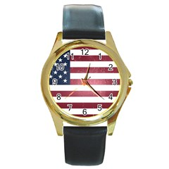 Usa3 Round Gold Metal Watches by ILoveAmerica