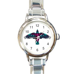 Stained Glass Bird Illustration  Round Italian Charm Watches by carocollins