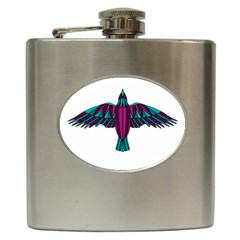 Stained Glass Bird Illustration  Hip Flask (6 Oz) by carocollins