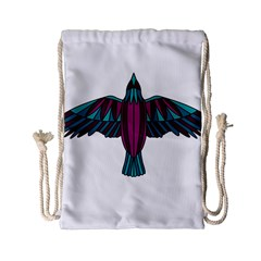 Stained Glass Bird Illustration  Drawstring Bag (small) by carocollins
