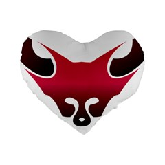 Fox Logo Red Gradient  Standard 16  Premium Flano Heart Shape Cushions by carocollins
