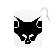 Black Fox Logo Drawstring Pouches (medium)  by carocollins