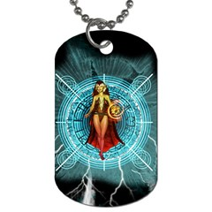 Beautiful Witch With Magical Background Dog Tag (two Sides)