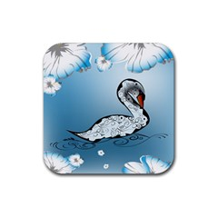 Wonderful Swan Made Of Floral Elements Rubber Square Coaster (4 Pack)  by FantasyWorld7