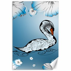 Wonderful Swan Made Of Floral Elements Canvas 24  X 36  by FantasyWorld7