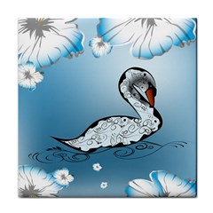 Wonderful Swan Made Of Floral Elements Face Towel by FantasyWorld7