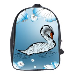Wonderful Swan Made Of Floral Elements School Bags(large)  by FantasyWorld7