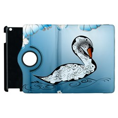 Wonderful Swan Made Of Floral Elements Apple Ipad 2 Flip 360 Case by FantasyWorld7