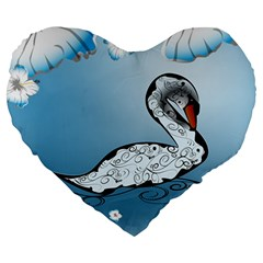 Wonderful Swan Made Of Floral Elements Large 19  Premium Heart Shape Cushions by FantasyWorld7