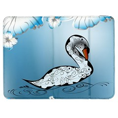 Wonderful Swan Made Of Floral Elements Samsung Galaxy Tab 7  P1000 Flip Case