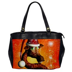 Funny Cute Christmas Giraffe With Christmas Hat Office Handbags by FantasyWorld7