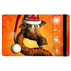 Funny Cute Christmas Giraffe With Christmas Hat Apple Ipad 3/4 Flip Case by FantasyWorld7