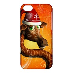 Funny Cute Christmas Giraffe With Christmas Hat Apple Iphone 5c Hardshell Case by FantasyWorld7