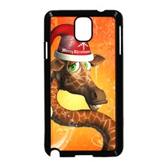Funny Cute Christmas Giraffe With Christmas Hat Samsung Galaxy Note 3 Neo Hardshell Case (black) by FantasyWorld7