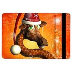 Funny Cute Christmas Giraffe With Christmas Hat Ipad Air 2 Flip by FantasyWorld7