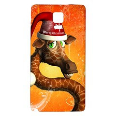 Funny Cute Christmas Giraffe With Christmas Hat Galaxy Note 4 Back Case by FantasyWorld7
