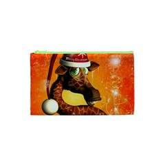 Funny Cute Christmas Giraffe With Christmas Hat Cosmetic Bag (xs) by FantasyWorld7