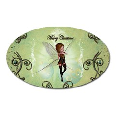 Cute Elf Playing For Christmas Oval Magnet by FantasyWorld7