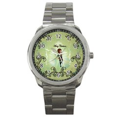 Cute Elf Playing For Christmas Sport Metal Watches by FantasyWorld7