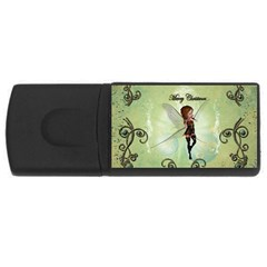 Cute Elf Playing For Christmas Usb Flash Drive Rectangular (4 Gb)  by FantasyWorld7