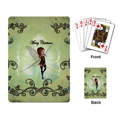 Cute Elf Playing For Christmas Playing Card by FantasyWorld7