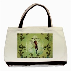 Cute Elf Playing For Christmas Basic Tote Bag (two Sides)  by FantasyWorld7