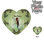 Cute Elf Playing For Christmas Multi-purpose Cards (Heart)  Back 16