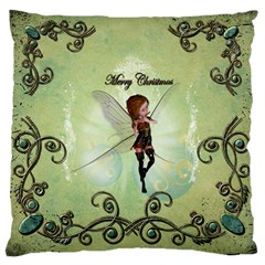 Cute Elf Playing For Christmas Large Cushion Cases (one Side)  by FantasyWorld7