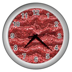 Alien Skin Red Wall Clocks (silver)  by ImpressiveMoments