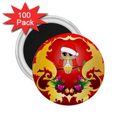 Funny, Cute Christmas Owl  With Christmas Hat 2 25  Magnets (100 Pack)  by FantasyWorld7