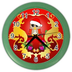 Funny, Cute Christmas Owl  With Christmas Hat Color Wall Clocks by FantasyWorld7