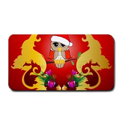 Funny, Cute Christmas Owl  With Christmas Hat Medium Bar Mats by FantasyWorld7