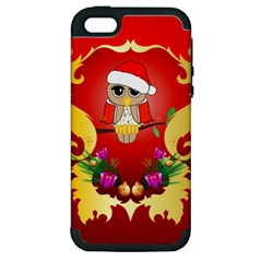 Funny, Cute Christmas Owl  With Christmas Hat Apple Iphone 5 Hardshell Case (pc+silicone) by FantasyWorld7