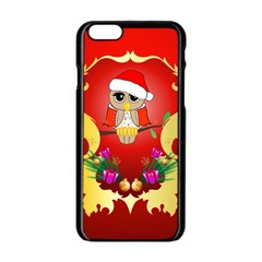 Funny, Cute Christmas Owl  With Christmas Hat Apple Iphone 6/6s Black Enamel Case by FantasyWorld7