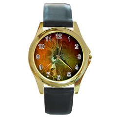 Beautiful Abstract Floral Design Round Gold Metal Watches