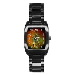 Beautiful Abstract Floral Design Stainless Steel Barrel Watch by FantasyWorld7
