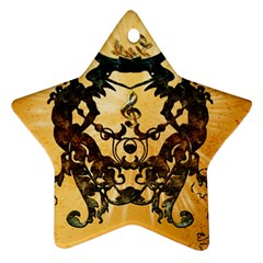 Clef With Awesome Figurative And Floral Elements Star Ornament (two Sides)  by FantasyWorld7