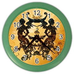 Clef With Awesome Figurative And Floral Elements Color Wall Clocks by FantasyWorld7