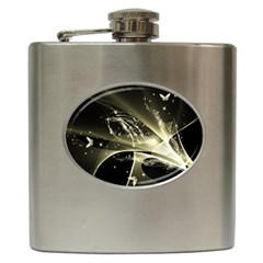 Awesome Glowing Lines With Beautiful Butterflies On Black Background Hip Flask (6 Oz) by FantasyWorld7