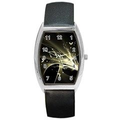 Awesome Glowing Lines With Beautiful Butterflies On Black Background Barrel Metal Watches by FantasyWorld7