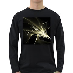 Awesome Glowing Lines With Beautiful Butterflies On Black Background Long Sleeve Dark T-shirts by FantasyWorld7