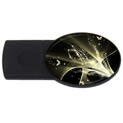 Awesome Glowing Lines With Beautiful Butterflies On Black Background Usb Flash Drive Oval (4 Gb)  by FantasyWorld7