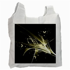 Awesome Glowing Lines With Beautiful Butterflies On Black Background Recycle Bag (one Side) by FantasyWorld7
