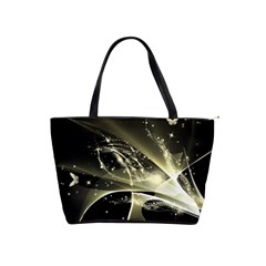Awesome Glowing Lines With Beautiful Butterflies On Black Background Shoulder Handbags by FantasyWorld7