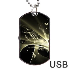 Awesome Glowing Lines With Beautiful Butterflies On Black Background Dog Tag Usb Flash (one Side) by FantasyWorld7