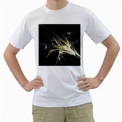 Awesome Glowing Lines With Beautiful Butterflies On Black Background Men s T-shirt (white)  by FantasyWorld7