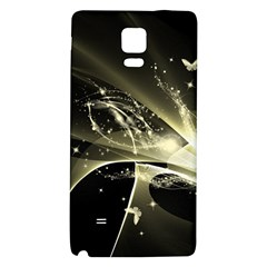 Awesome Glowing Lines With Beautiful Butterflies On Black Background Galaxy Note 4 Back Case by FantasyWorld7