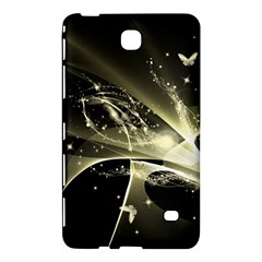 Awesome Glowing Lines With Beautiful Butterflies On Black Background Samsung Galaxy Tab 4 (7 ) Hardshell Case  by FantasyWorld7