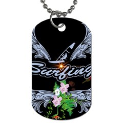 Surfboarder With Damask In Blue On Black Bakcground Dog Tag (two Sides) by FantasyWorld7