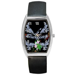 Surfboarder With Damask In Blue On Black Bakcground Barrel Metal Watches by FantasyWorld7